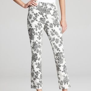 NYDJ Alisha Floral Ankle Jeans Size 10 Gray White
